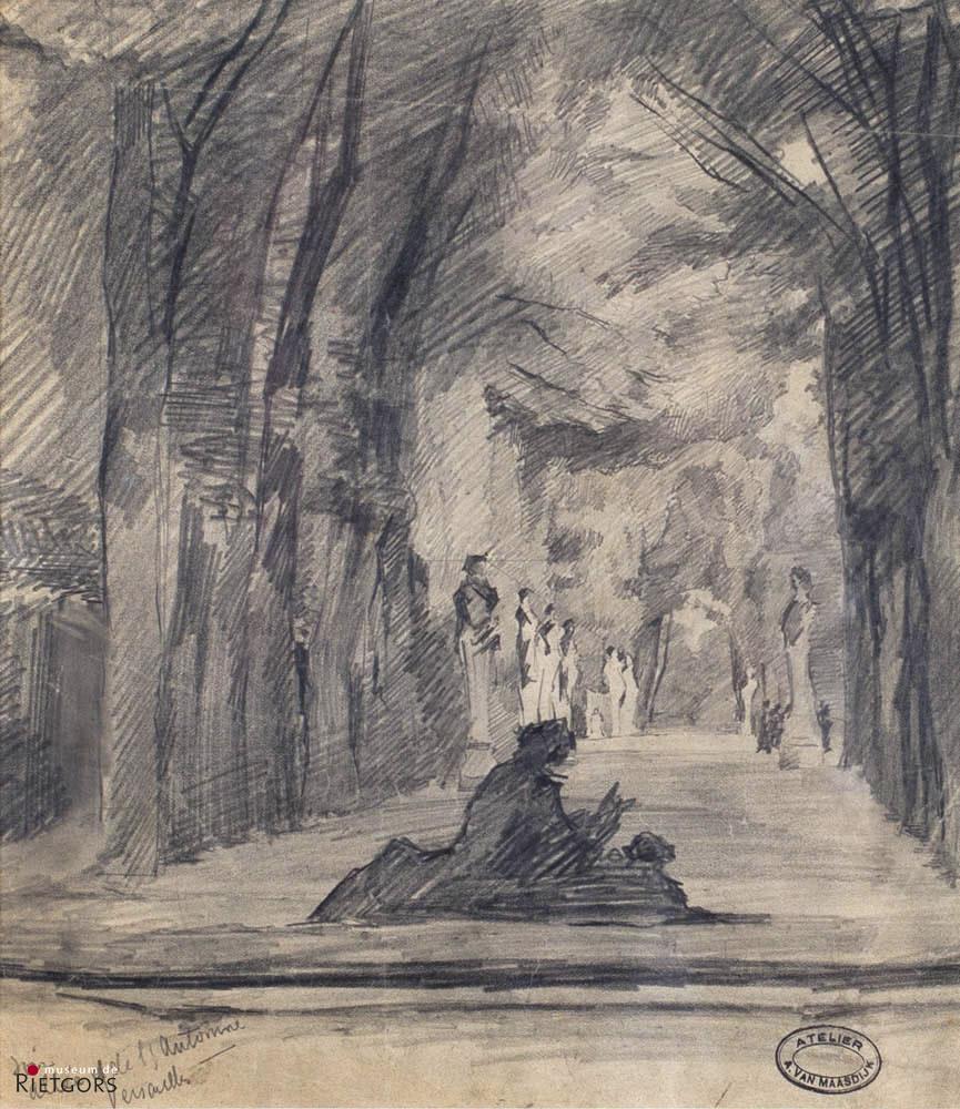 """Alexander van Maasdijk (1856-1931) - """"Versailles"""". Gem. met atelierstempel."""