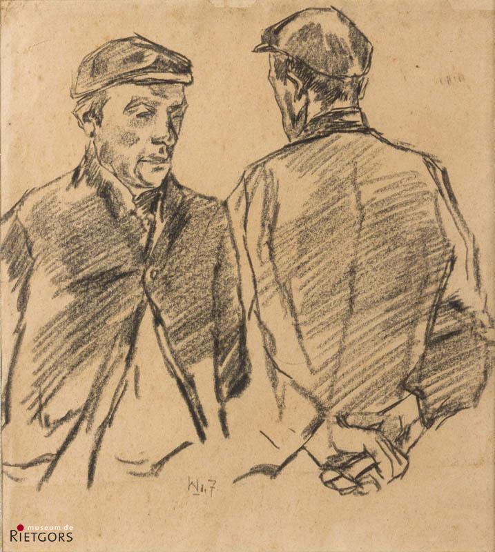 W. de Zwart (1862-1931) - Pratende mannen. Ges. Middenonder.