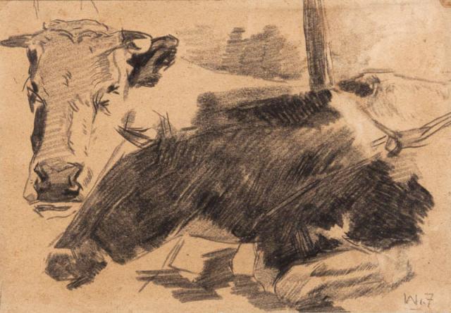 W. de Zwart (1862-1931) - Studie van koeien. Ges. R.O.