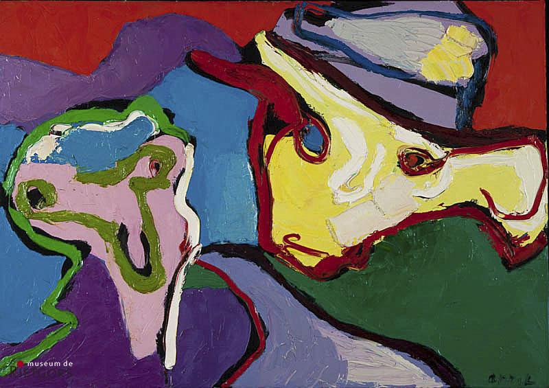 "Karel Appel (1921-2006) - ""Heads looking over mountain"""". Ges. R.O. en 1971."""