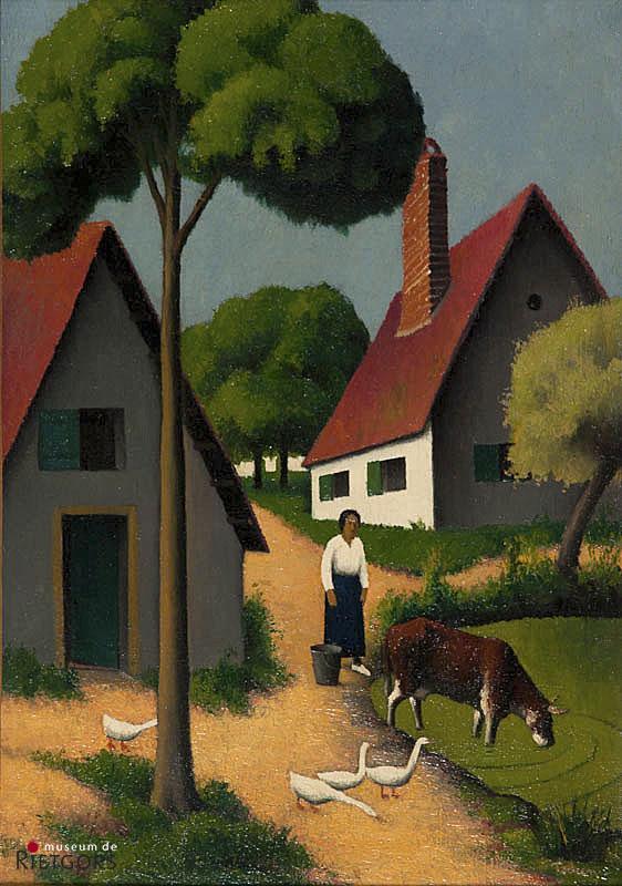 F.E. Tobeen (1880-1938) - Boerenhuisjes met erf. Ges. R.O. Doek.