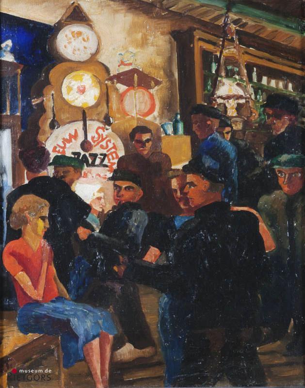 "Ch. Toorop (1890-1955) - ""Jazz in boerenherberg. Ges. L.O. met initialen."""