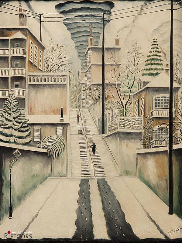 """E.J.E. Lascaux: (1888-1969) - """"L'Escalier de Montretout"""". Ges. R.O."""