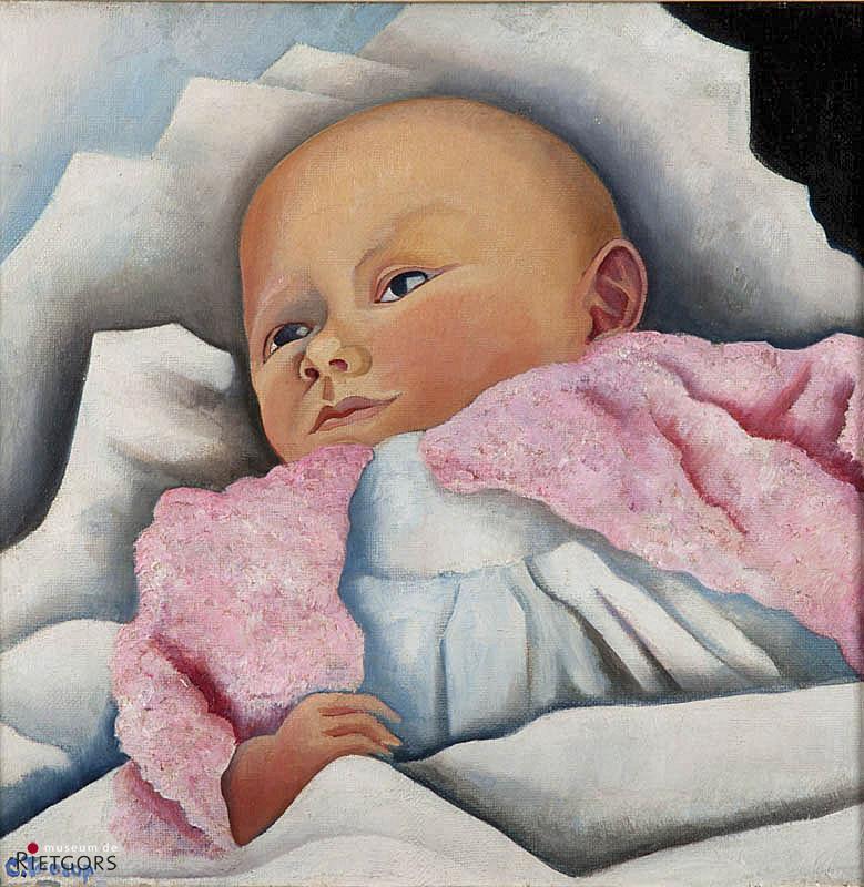 "Ch. Toorop (1890-1955) - ""Kinderportret van Peter Mees. Ges. L.O. en 1927 Domburg."""