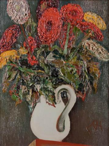 D. Henkes (1903-1989) - Kruik met bloemen. Ges. R.O.