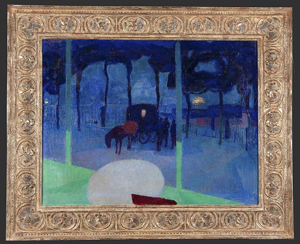 """Jan Sluijters (1881-1957) - """"Fiacre met Sacre Coeur"""". Ges. L.B. en 1912."""