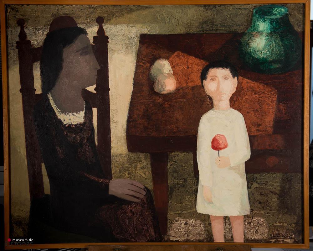 """R. Llovet (1917-1987) - """"Interior con dos figuras"""""""". Ges. R.O. en 1965."""""""