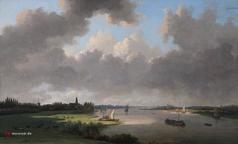 """W. de Klerk (1818-1876) - """"Gezicht op de Heerlijkheid Papendrecht"""""""". Ges. L.O."""""""