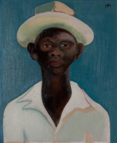 D. Henkes (1903-1989) - Portret van een negerjongen. Ges. R.B.