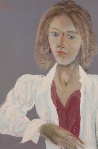 """D. Henkes (1903-1989) - """"Portret student (Henk Mentink) uit de 70-er jaren. Ges. L.B. en '71."""""""