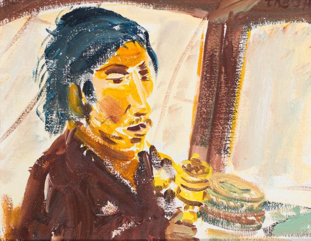 T. Niermeier (1940-2005) - Tibetaan met gebedsmolen. Ges. R.B. en '71.