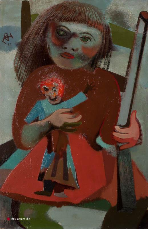 D. Henkes (1903-1989) - Kind met pop. Ges. L.B. en '57.