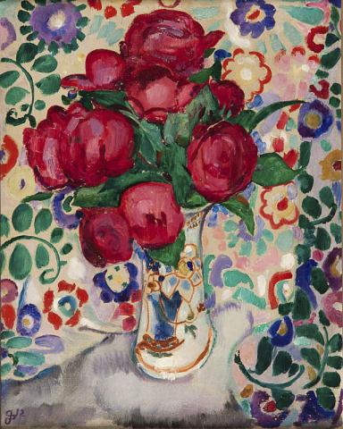 """Jan Sluijters (1881-1957) - """"Vaas met pioenrozen op gebloemde cretonne. Gemonogrameerd en 1912 L.O."""""""