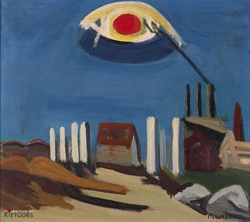 Piero Martina (1912-1982) - Landschap met zon. Ges. R.O.