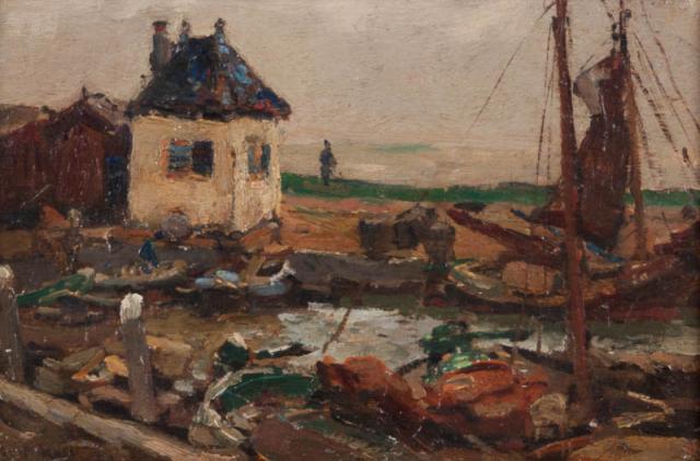 E. Moll (1878-1955) - Havengezicht Volendam. Ges. L.O.