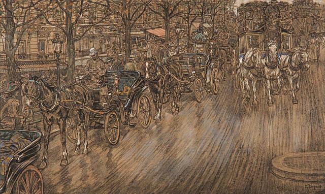 P. Dupont (1870-1911) - Parijs stadsgezicht met Fiacres. Ges. R.O