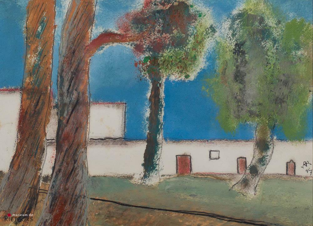D. Henkes (1903-1989) - Mexicaans klooster. Ges. R.O. en '47.