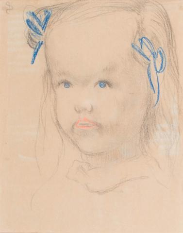 Jan Sluijters (1881-1957) - Meisjesportret. Ges. L.B.