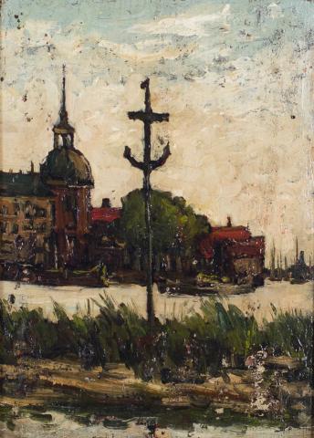 E. Boonen (1860-1931) - Gezicht op Dordrecht.