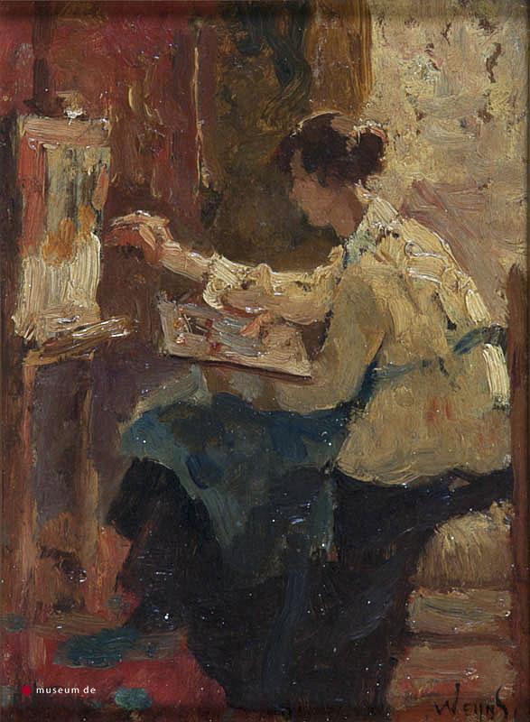 J.H. Weijns (1864-1945) - Schilderes achter ezel. Ges. R.O.