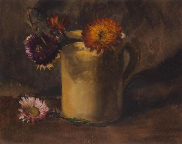"""""""S. Mesdag-van Houten (1834-1909)"""" - Mok met bloemen. Ges. R.O."""