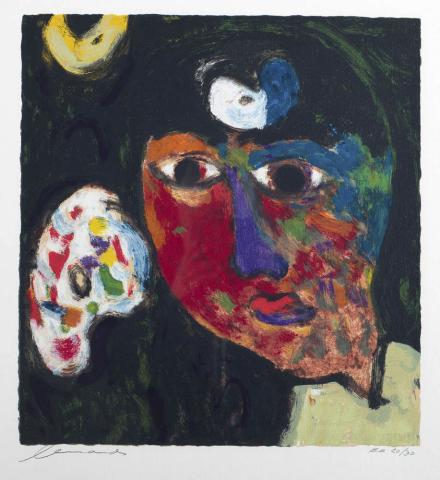 """E. Brands (1913-2002) - """"Bij de oogarts. (zelfportret met pallet). Ges. L.O. en 20/30."""""""