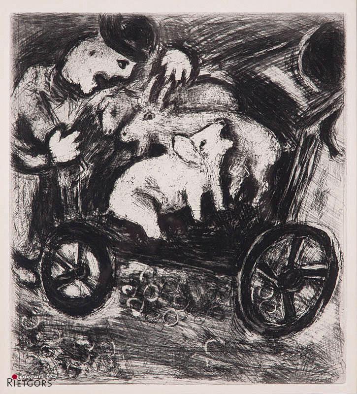 """M. Chagall (1887-1985) - """"Uit de serie """"Fables de La Fontaine"""". Ges. in de steen."""""""