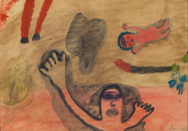 """E. Brands (1913-2002) - """"Kleine blauwe vlinder"""". Ges. R.O.en '52."""