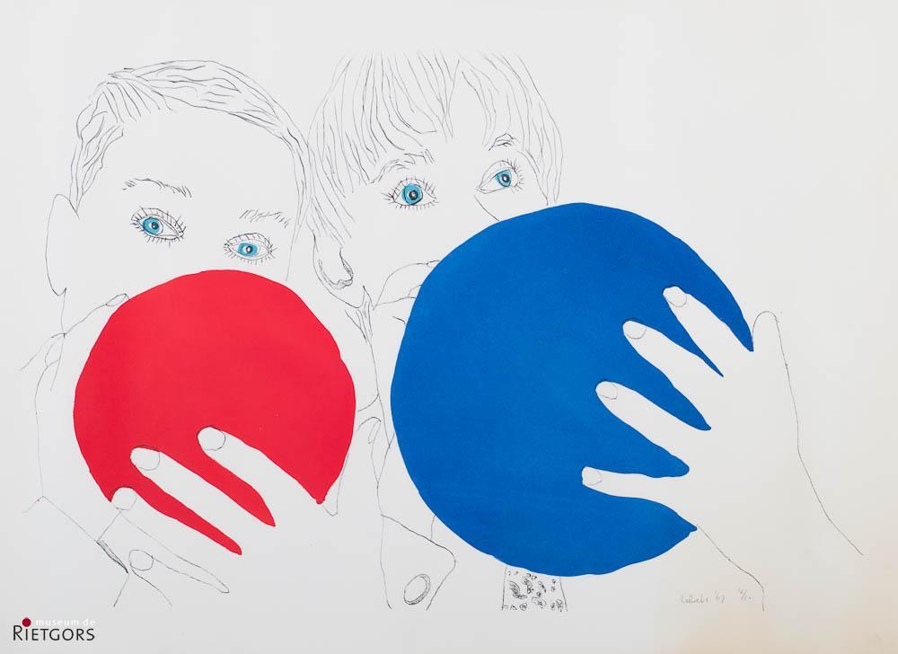 """J. Zekveld (1945-2002) - """"Twee kinderen met ballonnen. Ges. R.O. en '67. 16/20."""""""