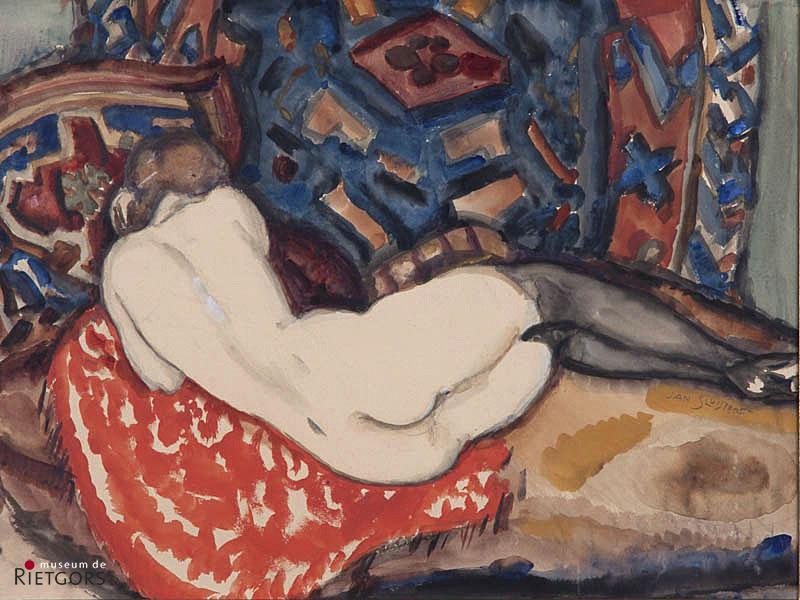 Jan Sluijters (1881-1957) - Liggend naakt. Ges. R.O.