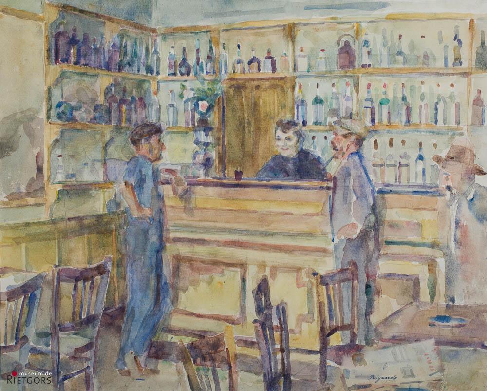 H. Royaards (1902-1975) - Interieur Frans café. Ges. en 1955.