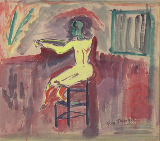 K. van Dongen? (1877-1968) - Voorstudie Clown. Ges.
