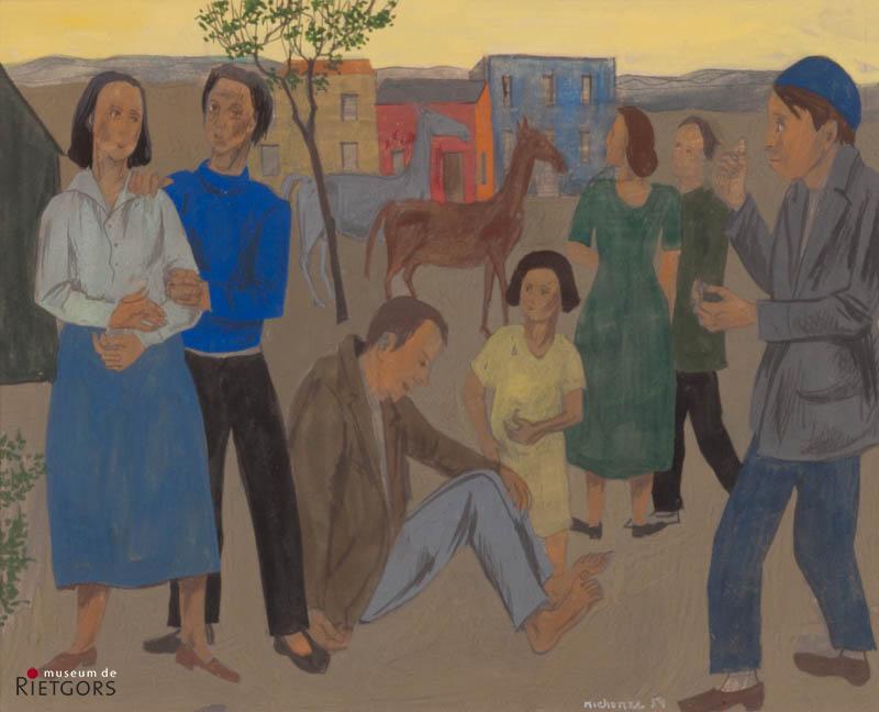 G. Michonze (1902-1982) - Dorpstafereel. Ges. R.O. en '54.