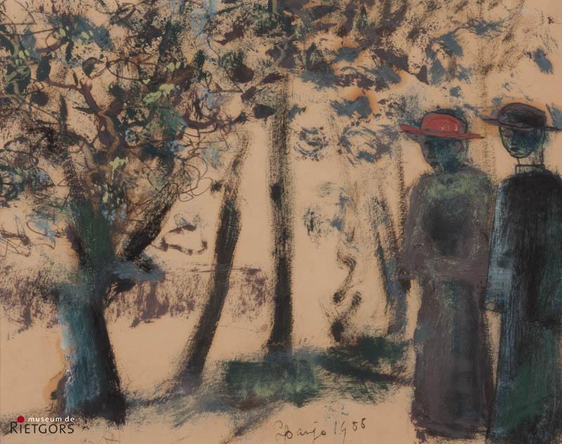 D. Henkes (1903-1989) - Twee geestelijken in park. Ges. L.O.