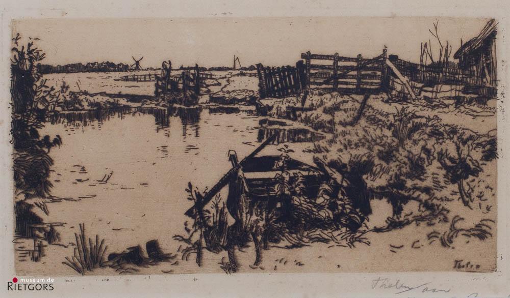 W.B. Tholen (1860-1931) - Poldergezicht. Ges. R.O.