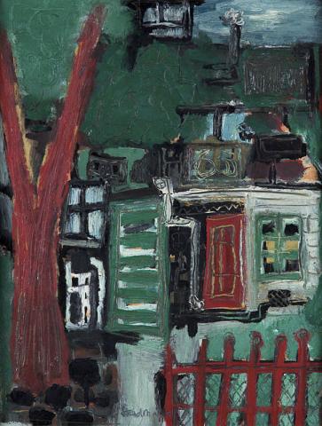 """""""Theo Stradmann (1920), toegeschreven aan"""" - """"Boom en huis met vensters. Ges. M.O. en 1952."""""""