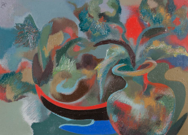 """D. Henkes (1903-1989) - """"Stilleven met bloemen en vruchten. Ges. L.B."""""""