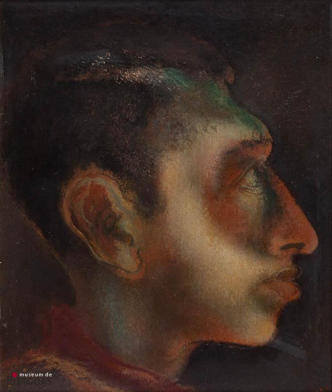 D. Henkes (1903-1989) - Portret van imbeciel. Ges. R.O.