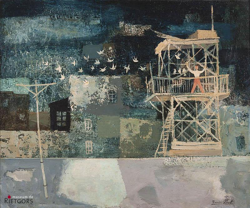 Ramon Llovet (1917-1987) - Jongetje in duiventil. Ges. R.O.