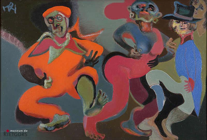 D. Henkes (1903-1989) - Dansende clowns met zelfportret. Ges. L.B.