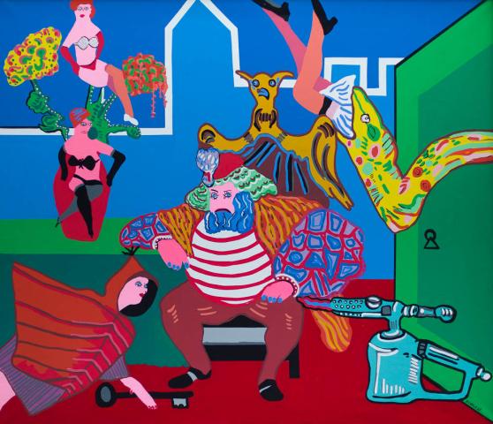 """J. Zekveld (1945-2002) - """"Metamorphose van Blauwbaard. Ges. R.O. en '68."""""""