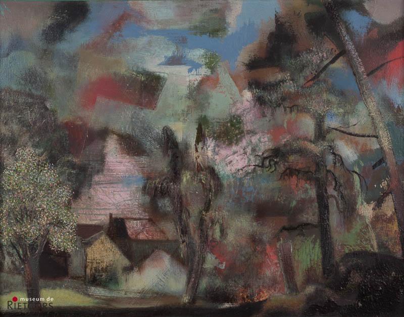 D. Henkes (1903-1989) - Landschap, hommage à Seghers. Ges. L.B.