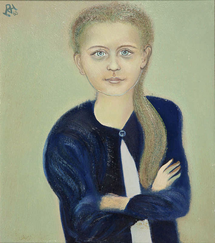 D. Henkes (1903-1989) - Meisjesportret van Nannie. Ges. en '65 L.B.