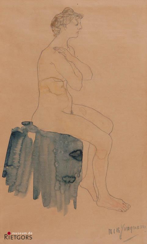 M.J.B. Jungmann (1877-1964) - Zittende naakte vrouw. Ges. R.O.