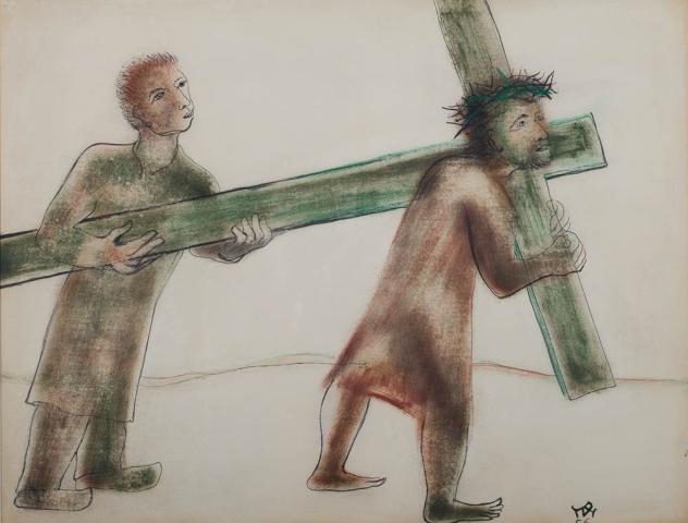 """D. Henkes (1903-1989) - """"Simon van Cyrene helpt het kruis dragen. Ges. R.O. en '56."""""""