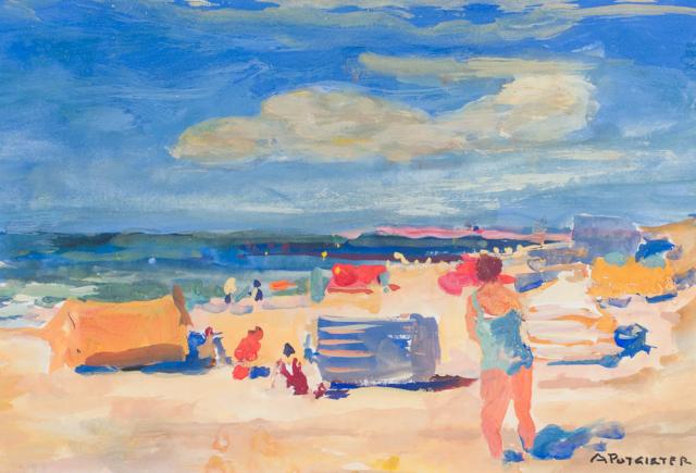 A. Potgieter (1899-1982) - Strandgezicht bij Papendrecht. Ges. R.O.