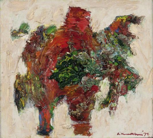 "A. Mouthaan (1940) - ""De schilder, Cobrastijl"". Ges. en '72."