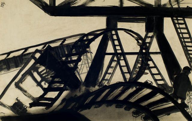 D. Henkes (1903-1989) - Verwoeste Rotterdamse haven. Ges. L.B.