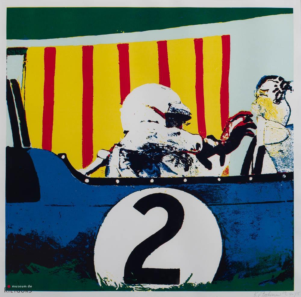 """K. van Bohemen (1928-1985) - """"Pit-stop van autocoureur. Ges. R.O. en '75. 4/75."""""""