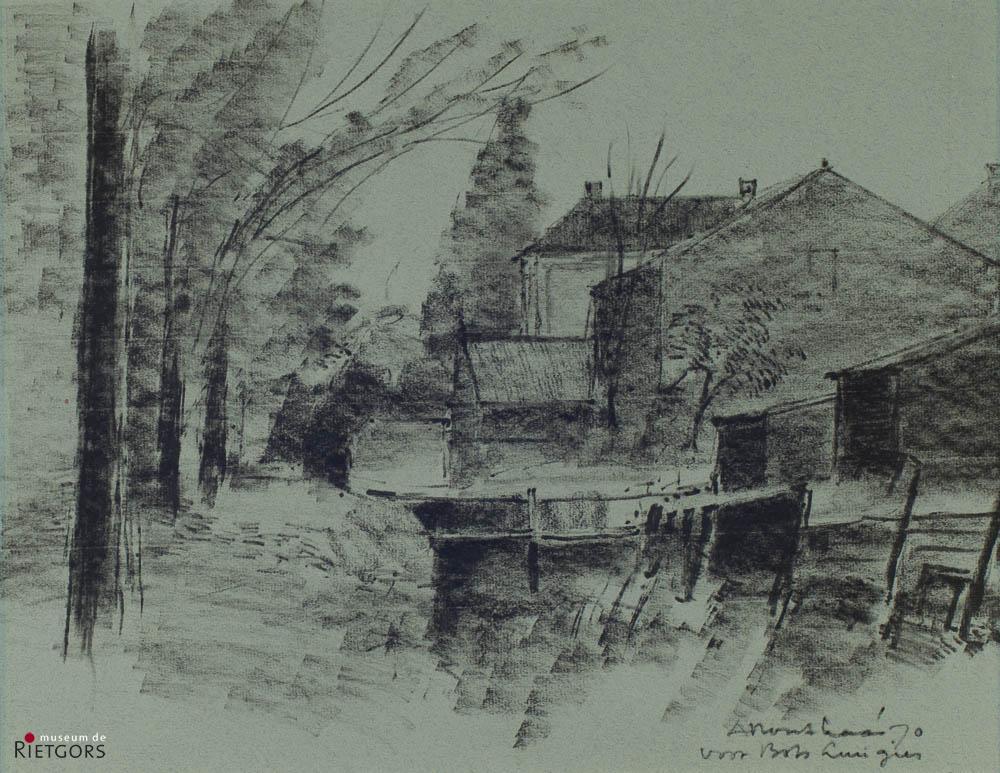 A. Mouthaan (1940) - Achter het oude gemeentehuis. Ges. R.O.